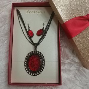 NWT $30 ERICA LYONS Red Necklace/Earring Set